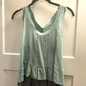 Mint green and grey dressy tank top